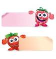 Strawberry and Raspberry Fruits with Sign vector image