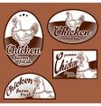 Chicken vintage labels set vector image