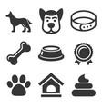 dog icons set on white background vector image