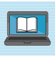 laptop with book isolated icon design vector image