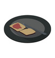 plate food icon white dish dining meal isolated vector image