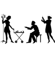 Silhouettes of health workers in a situation vector image