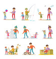 fatherhood elements set vector image