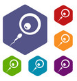 donor sperm icons set hexagon vector image vector image
