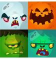 cartoon monster faces set vector image