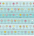 Baby blue background with cute flowers vector image vector image