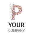 Alphabet particles logotype Letter-P vector image