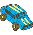 blue wooden toys car vector image