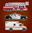 Collection of emergency cars vector image