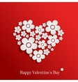 Valentines day heart of white flowers vector image