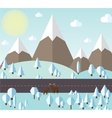 winter forest and mountains vector image
