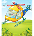 A colorful helicopter with happy kids vector image