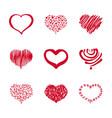37 set of hand-drawn heart vector image