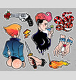 set of cute bad girl crime and violence patches vector image