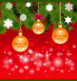 Festive Christmas background with balls vector image