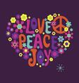 Love peace joy vector image