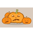 Halloween with pumpkins scary face vector image