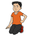Asian-boy-sitting vector image vector image
