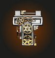t letter with gears vector image