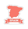 paper sticker on white background map of Spain vector image