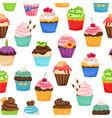 chocolate cupcakes seamless pattern vector image