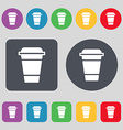 coffee icon sign A set of 12 colored buttons Flat vector image
