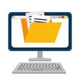 computer desktop with folder vector image