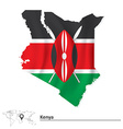 Map of Kenya with flag vector image