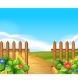 Scene with wooden fence and field vector image