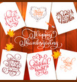 set of hand drawn thanksgiving day texts vector image