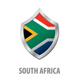 south africa flag on metal shiny shield vector image