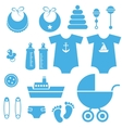 set of baby boy elements icons vector image