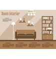 Brown living room interior vector image vector image