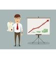 Businessman received diploma for sales increase vector image