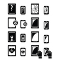 Smartphone tablet repair - broken screen icons vector image