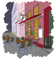 Sketch of a Street Cafe vector image