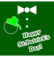 Green suit with shamrock and bow tie vector image