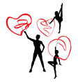 Gymnast with Love Ribbon Silhouettes vector image