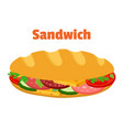 sandwich breakfast fast food cartoon flat style vector image