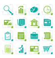 stylized business and office internet icons vector image