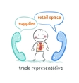 trade representative talking on the phone with a vector image vector image