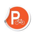 parking bicycle icon orange sticker vector image vector image