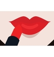 Putting red lipstick on lips vector image