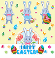 Easter rabbits set vector image