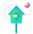 Blue cartoon bird house with birdie on perch and vector image