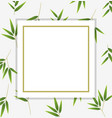 border template with green bamboo leaves vector image