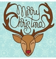 Colorful xmas greeting card with head of reindeer vector image