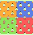 cute cupcake kawaii character seamless set pattern vector image