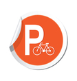 parking bicycle icon orange sticker vector image