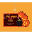 poster halloween party with cauldron design vector image
